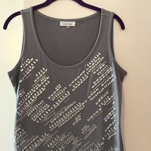 Gray tank with rhinestones